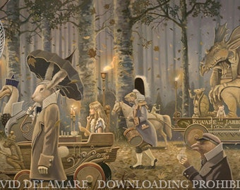 "Beware the Jabberwock (Unframed Signed 36""x18"" Giclée Print) Art  by David Delamare (Alice in Wonderland by Lewis Carroll) Jabberwocky"