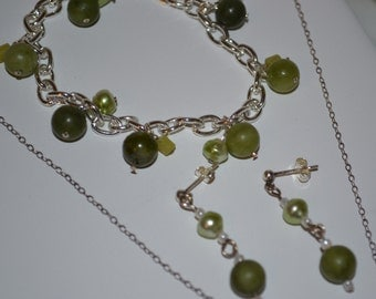 CLEARANCE - Green Stone Jewelry Set | Necklace | earrings | bracelet | set | discount | clearance | marked down | Sterling Silver