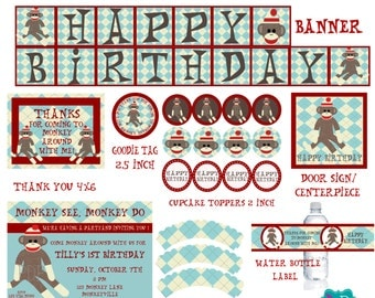 Sock Monkey Printable Party Pack- your choice of colors