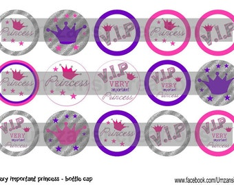V.I.P. Very Important Princess 4 X 6 1 inch digital bottle cap images