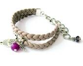 Bracciale in pelle viola  con gufo, pietra viola e piuma - Braccialetto gufo