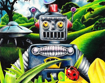 """Robot Invasion - Original Sci-Fi Lowbrow Artwork by Yours Truly - 8x10"""" - Custom Frame"""