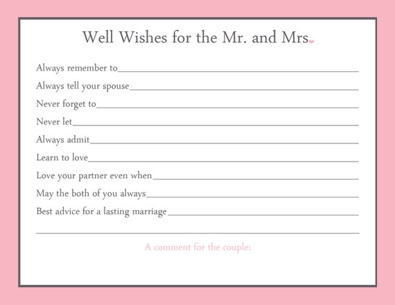 Items similar to advice card bridal shower game 20 for Bridal shower advice cards template