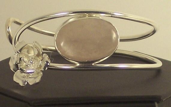 ROSE QUARTZ  Silver BRACELET Silver Pink Quartz Bracelet Cuff