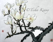 Magnolia Asian Brush Painting on Rice Paper hand made card printed on fine linen paper.