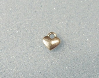 10 tiny heart  charms - double sided - tibetan silver - 8mm x 7mm - tibet silver charm