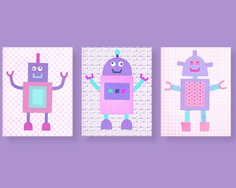 Pink and Purple Robot Nursery Girl's Room Robot Decor Girl's Room Wall Art Girl Robots Tech Nursery Decor Quirky Robots
