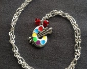 Charm necklace with paint brush charm pendant