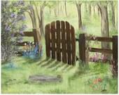 Garden Gate  Original Oil Painting Landscape 16x20
