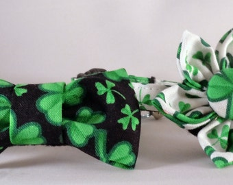 Cat Collar or Kitten Collar with Flower or Bow Tie  - St Patrick's Day Four Leaf Clover