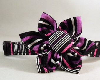 Cat Collar and Flower or Bow Tie - Amethyst