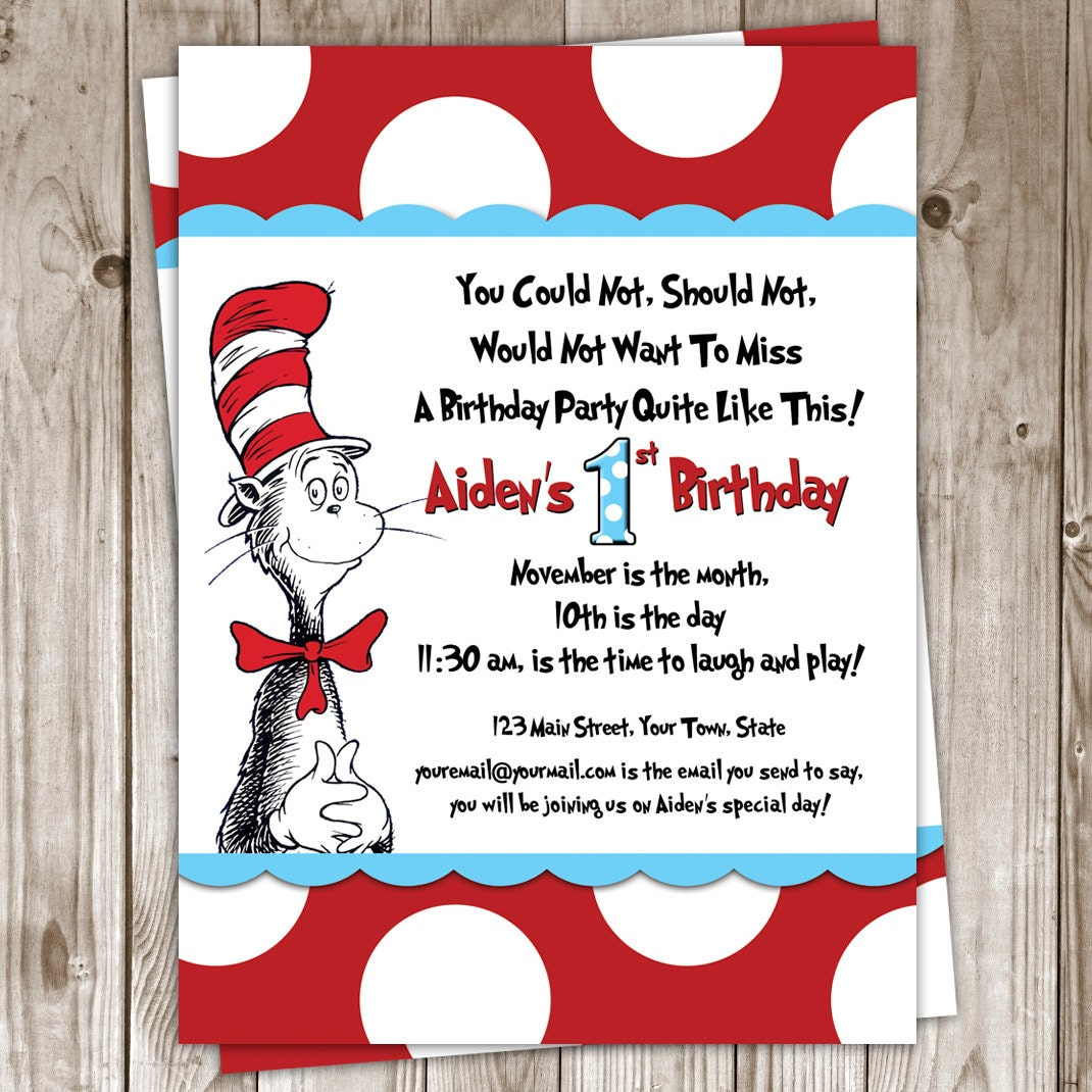 dr seuss invite  etsy, party invitations