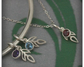 Sprout Birthstone Charm Add On--Charm ONLY--Add to your bracelet or pendant--Sterling Silver Sprout with Synthetic Birthstone
