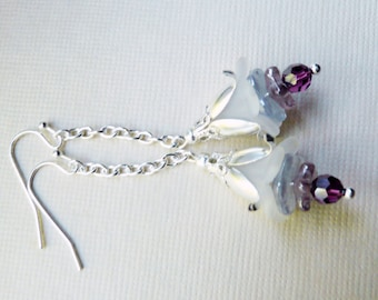 Earrings, White and lavender lucite flower dangle earrings No. 151