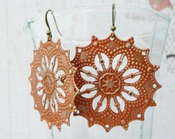 Earrings, Round rust orange patina filigree dangle earrings No. 208