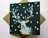 White Stag with Butterflies - Fine Art Greetings Card, Blank Inside, Stag Card/Note Card, Butterfly Card