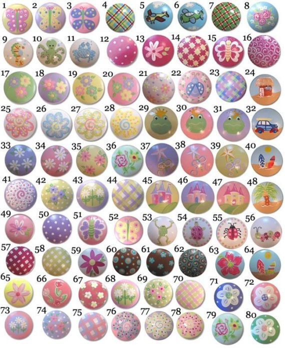 Items similar to childrens kids baby room hand painted for Children s bureau knobs