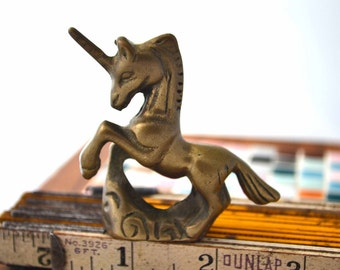 Little Brass Unicorn Figure