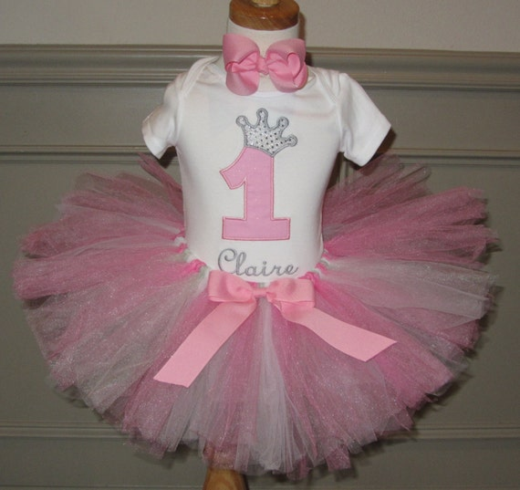 Girls First Birthday Outfit Tutu Set Onsie 1 By