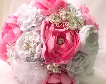 "Fabric Wedding Bouquet, brooch bouquet ""Mirage"", Pink and White"