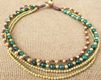 Multi Line Jade Brass Bead  Beaded Ankle Bracelet