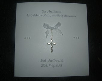 Invitations lovely handmade 1st First Holy Communion  personalised personalized with hanging cross design
