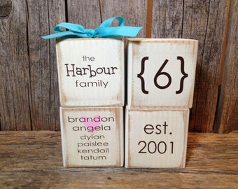 Display all your family info with these cute wood blocks anniversary personalized gift  established