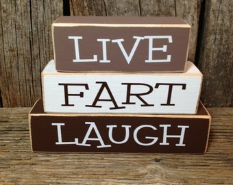 LIVE FaRT LaUGH, mini stacker, live love laugh blocks, fart blocks, live love blocks, laugh blocks, funny blocks, family humor blocks