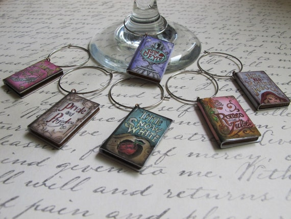 SET of Literary Fairytale Wine Glass Charms: Pride and Prejudice, Jane Eyre, Snow White, Red Riding Hood, Cinderella, Romeo and Juliet