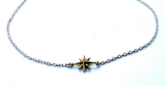 Compass Rose 14 K Yellow and White Gold Single Star Necklace