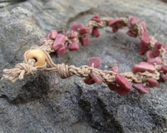 Rhodonite hemp bracelet