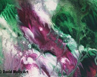 Purple Whale Ascending -- Abstract Acrylic & Ink Mixed Media on Paper 5x7 in.