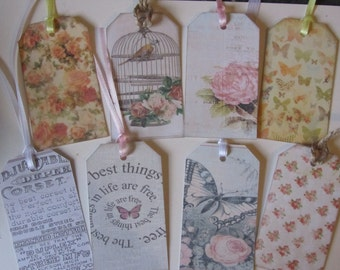 8 vintage luggage labels, wish tree tgs