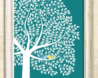 Modern Guest Book Alternative, Signature tree, Personalized Print Art Print, 391 guest sign in - Custom Tree Art Print 20x30 - 129