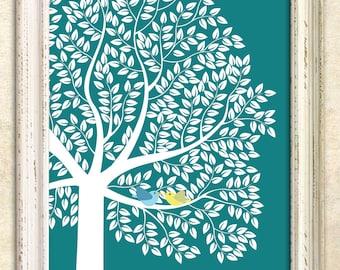 Modern Guest Book Alternative, Signature tree, Personalized Print Art Print, 391 guest sign in - Custom Tree Art Print 20x30 - 129