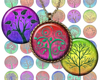 Tree of Life - 1 inch circles 25mm rainbow magic color trees digital collage sheet - Instant Download pendants magnets pc2118