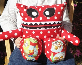 Berenstain Bears Red Polka Dot Monster Pajama Eater - They Eat Toys and Remotes too - They like to Cuddle and make a nice pillow