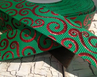 """7/8"""" CHRISTMAS RED Metallic Swirl on GREEN Bling grosgrain sold by the yard"""