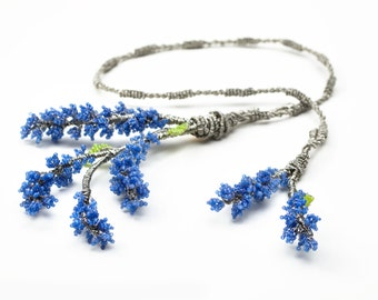 Beaded Lavender Couture Necklace with Japanese Beads