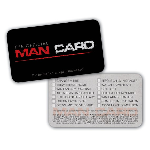 INSTANT DOWNLOAD PRINTABLE Official Man Card Hilarious