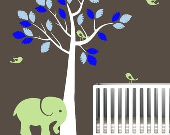 Nursery Wall Jungle Tree with Elephant, Birds, Vinyl Wall Art