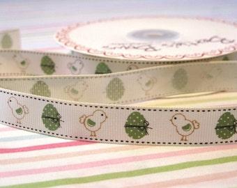 16mm Easter Vintage Chicks Print Grosgrain Ribbon