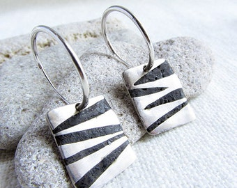 Silver with Jet Inlay Dangle Earrings