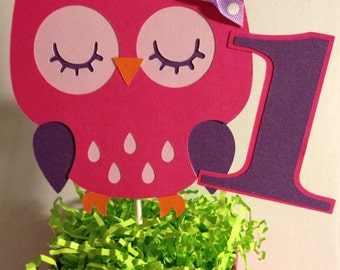 Hot pink and purple Owl Cake Topper