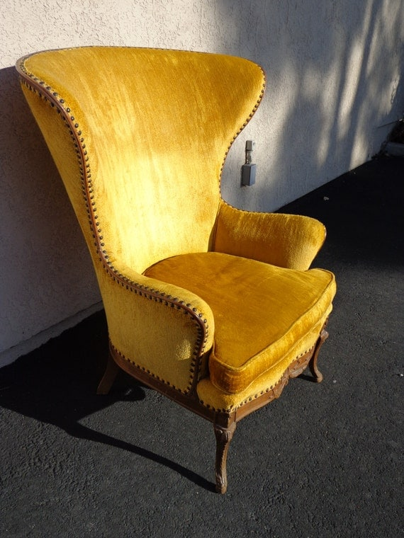 Incredibly Awesome Vintage High Wing Back Chair