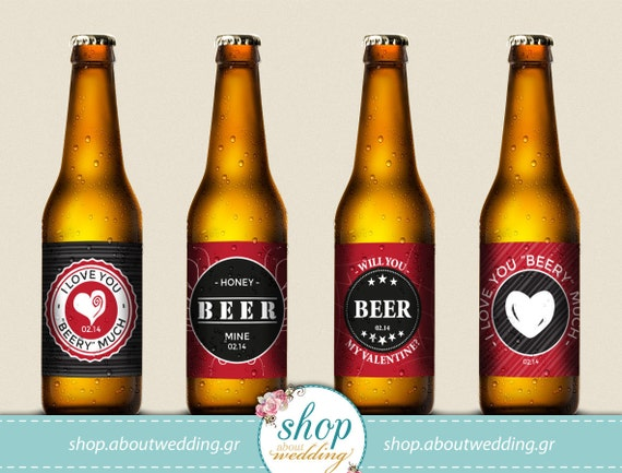 This is a picture of Inventive Free Printable Valentine Beer Labels