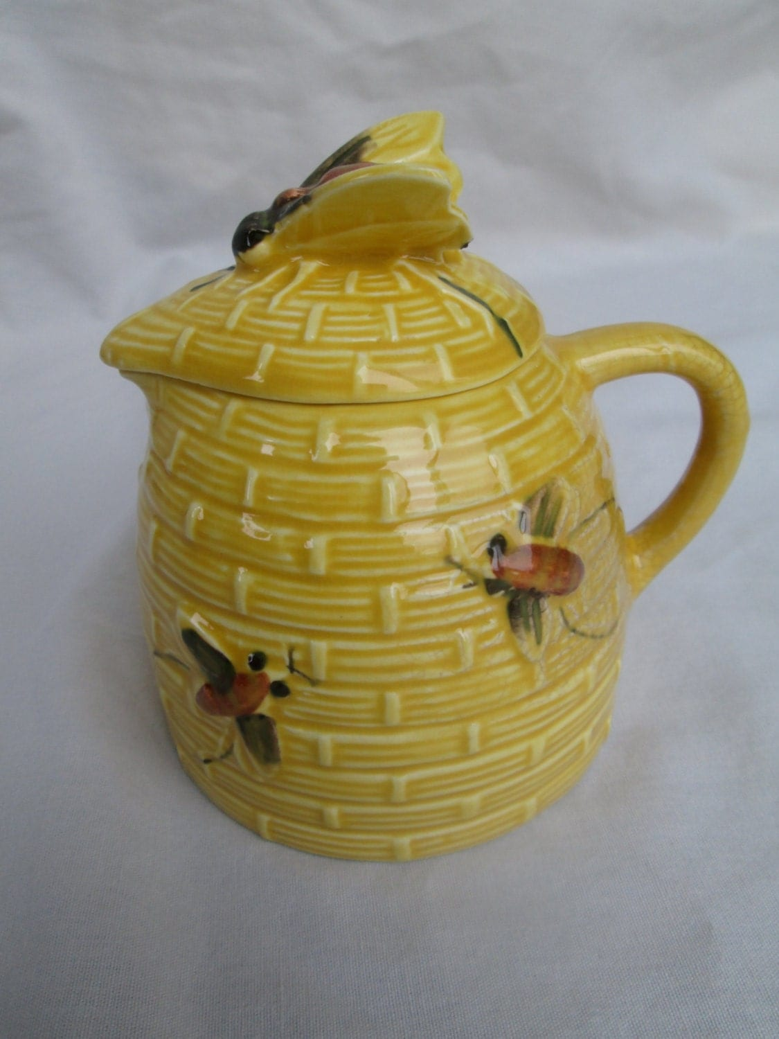 Yellow Ceramic Bee Hive Honey Pot