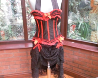 Steampunk burlesque corset dress goth day of the dead zombie ajustable ties
