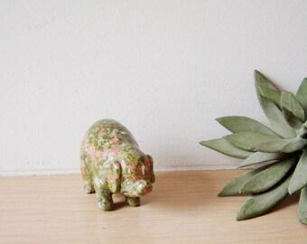 Vintage pig figurine, unakite mineral stone pig figurine, late eighties
