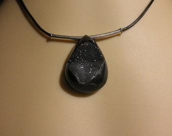 Black agate druzy necklace